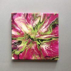tableau abstrait fluidart vert et rose