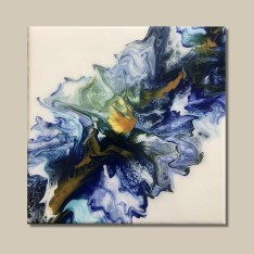 tableau d'art fluide bleu et ocre