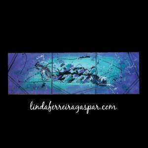 Tableau abstrait coloré triptyque bleu et violet - Bleuet