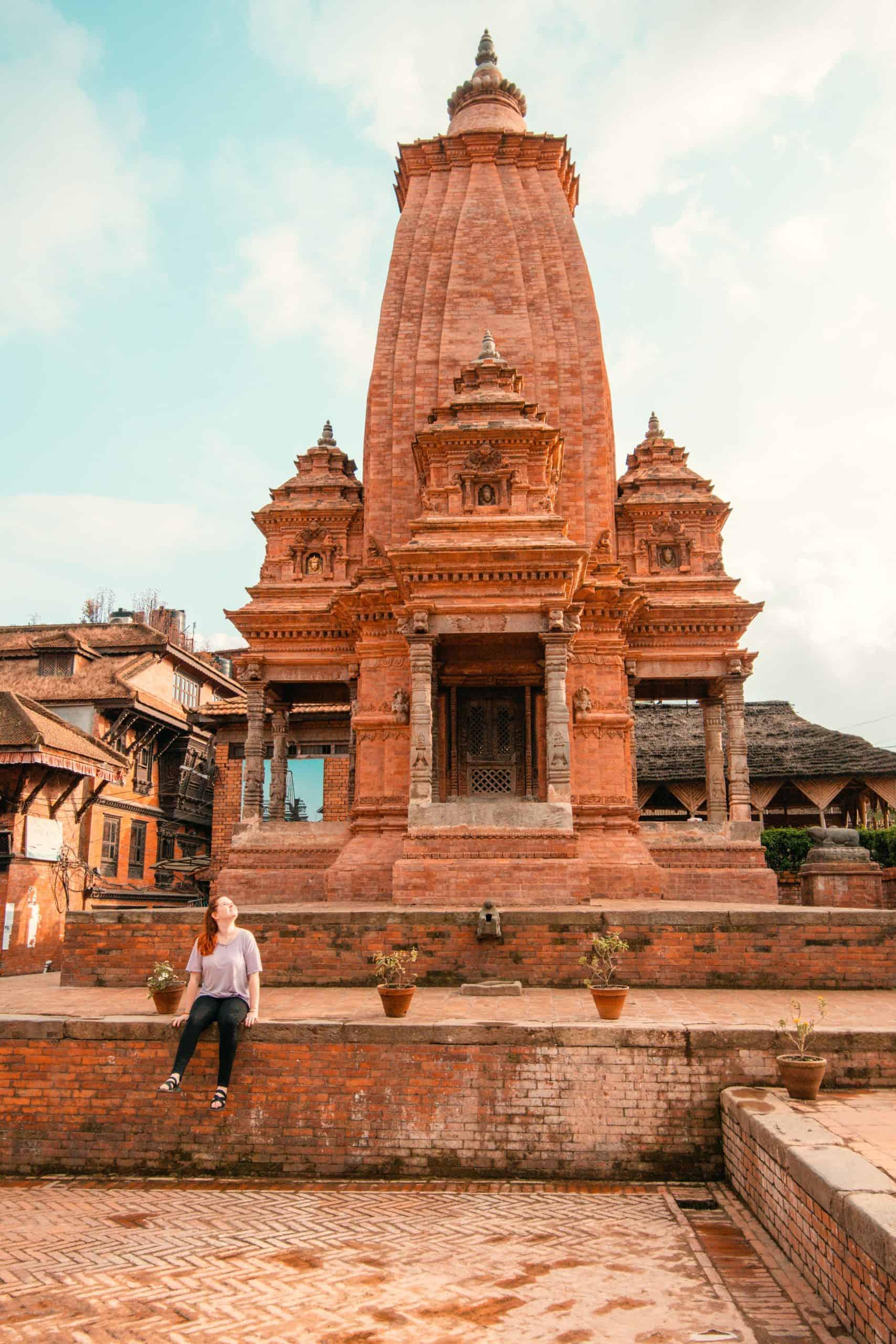Woman sitting in Bhaktapur durbar square