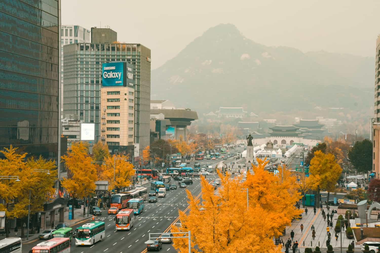 View of Gwanghwamun Plaza with Gyeongbokgung Palace