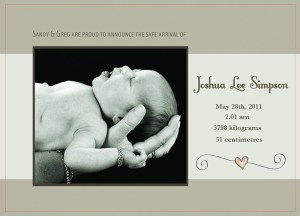 Sample Birth Announcement Card