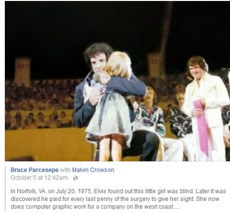 Elvis with little blind girl on stage