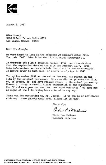 enlarged kodak letter