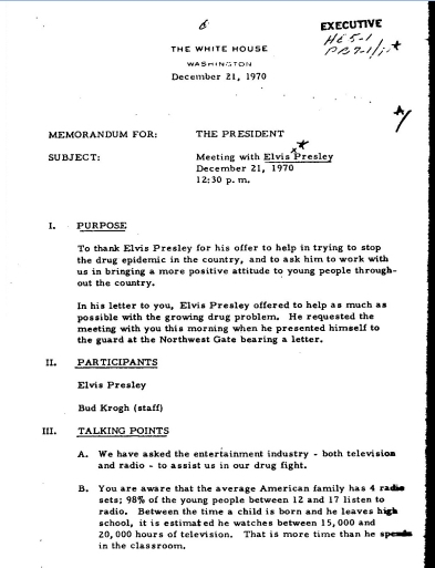 White House Memo about Elvis' visit