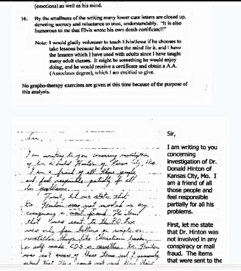 Hinton'a display of letter and graphology report