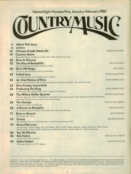 Country Music Magazine 1980 Index