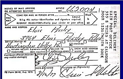 Elvis signed postal receipt on morning of 8-16-77