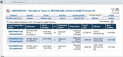 Eliza's criminal history in Harris County, TX