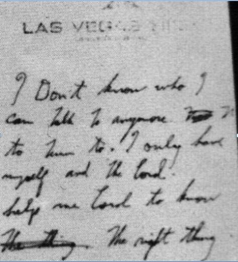 Elvis' 2nd handwritten note Las Vegas Dec 1976