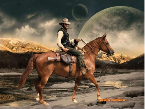Elvis on horse with beautiful backdrop
