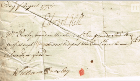 Irish document from the video showing signature of William Presley