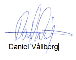 Daniel Vallberg's signature on voice analysis document
