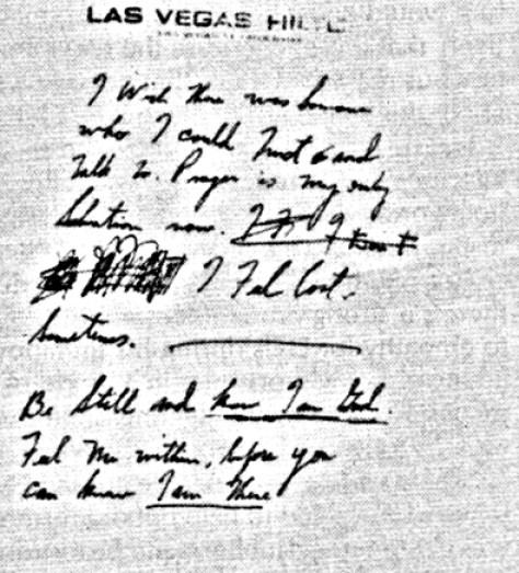 Elvis' 3rd handwritten note Las Vegas Dec 1976