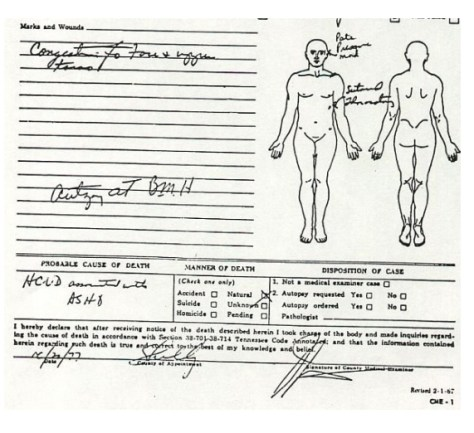 Medical Examiner's death report page 2