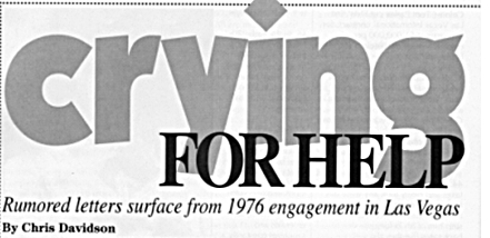 Headline of article about Elvis' notes written in Las Vegas in Dec. 1976