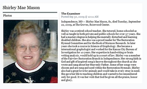 Shirley Mason Obituary