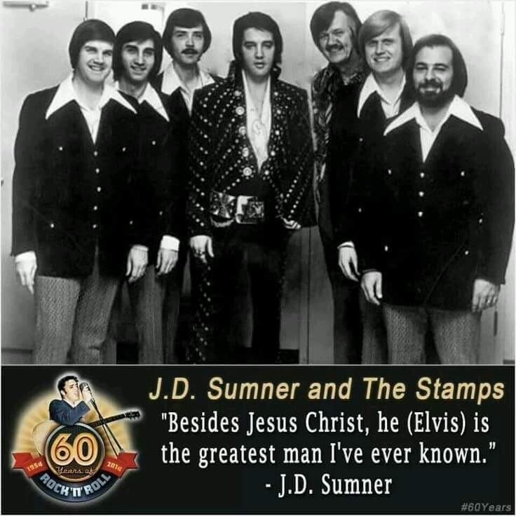 J D and the Stamps with J. D.'s quote about Elvis