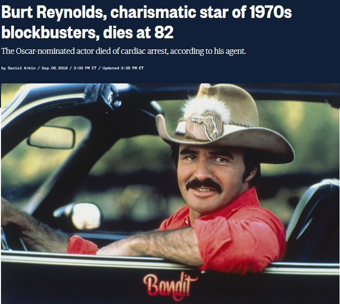 Burt Reynolds charismatic star of 1970s blockbusters dies at 82