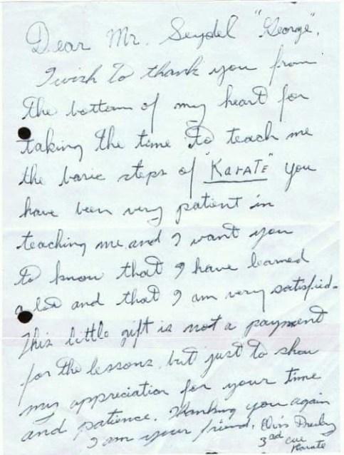 Elvis letter to Karate instructor
