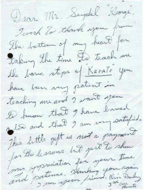 Elvis letter to Karate instructor