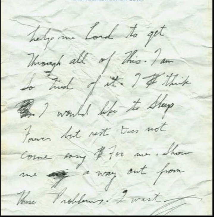Elvis note of dispair