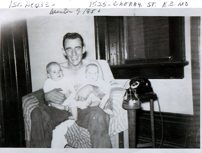 Rev. Dale Presley in 1950 with twin babies Jerry and Terry