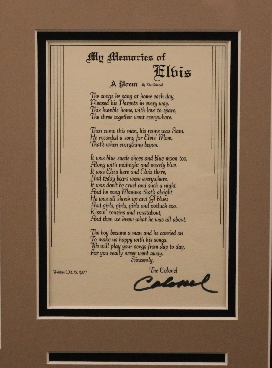 Col. Parker poem framed for sale in Jan. 2017
