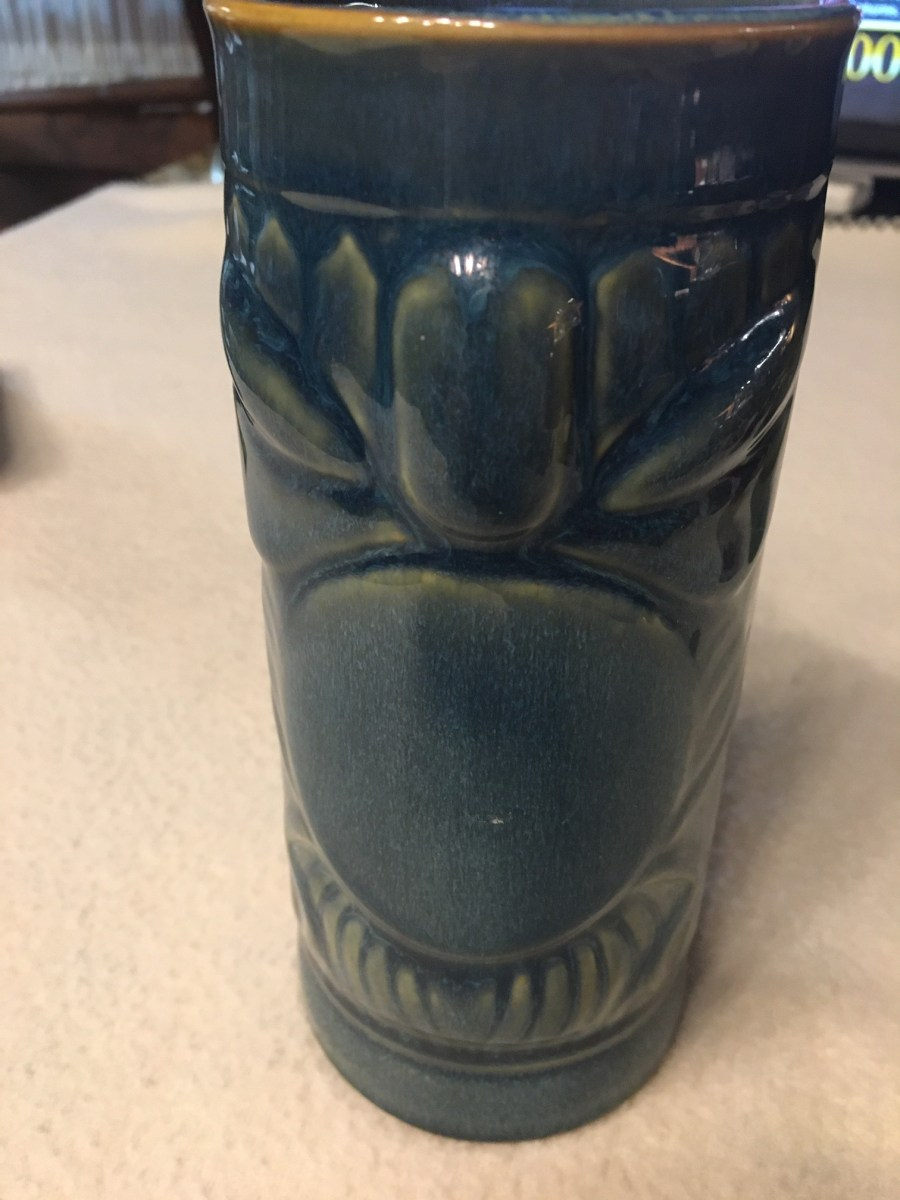 Gift from Jesse May 2020 reverse side of blue vase he brought from Hawaii