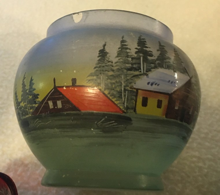 Gift from Jesse reverse painted bowl May, 2020