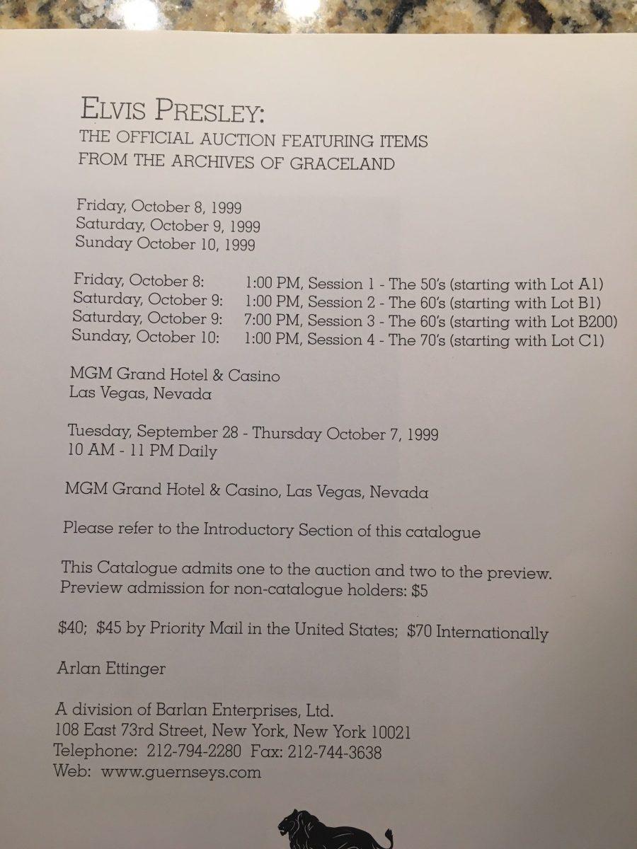 Elvis archives auction dates