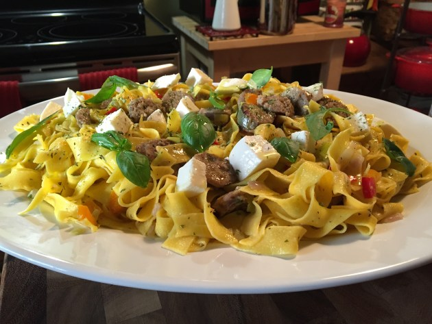 Sweet Italian Sausage, Mozzarella, and Basil Over Pappardelle