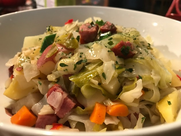 Brasied Cabbage With Potatoes And Smoked Sausage (2)