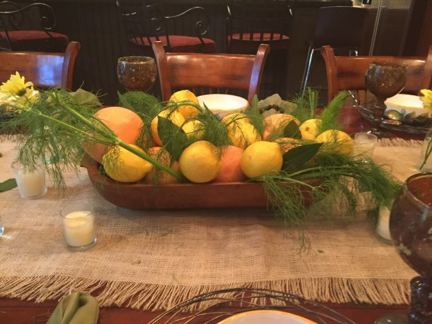 Citrus With Fennel Fronds Centerpiece