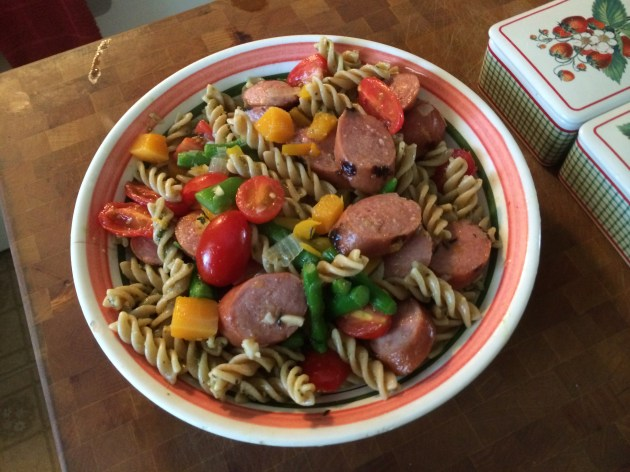 Smoked Turkey Sausage Over Pesto Fusilli