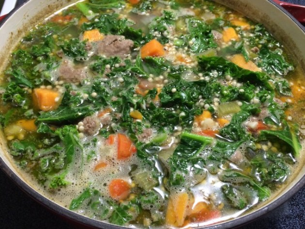Turkey Sausage, Sweet Potato, And Kale Soup