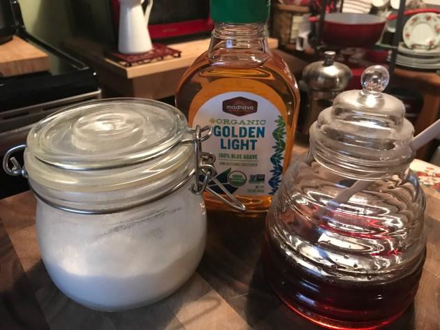 Agave Nectar, Honey, and Granulated Sugar