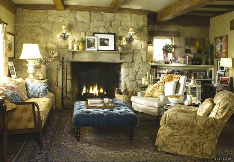 The Holiday English cottage living room velvet tufted ottoman florals Cameron Diaz Kate Winslet