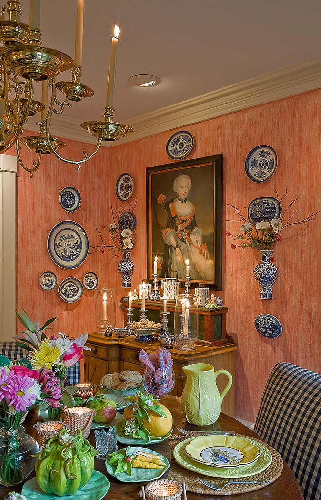 Richard FitzGerald home peach dining room Michael J Lee photography Cape cod house