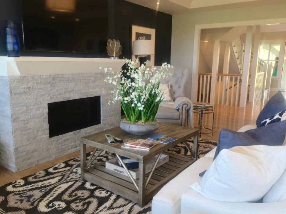 2016 Boston Magazine Design Home at The Pinehills Plymouth MA blue and white Living room