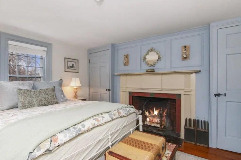 17 Grove St sandwich ma massachusetts oldest house blue bedroom fireplace