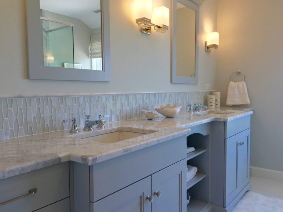 2016 Boston Magazine Design Home at The Pinehills Plymouth MA gray bathroom