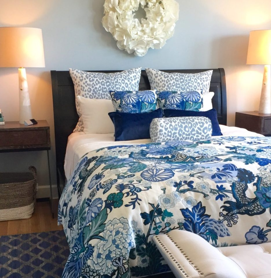 2016 Boston Magazine Design Home at The Pinehills Plymouth MA blue chiang mai dragon bedding