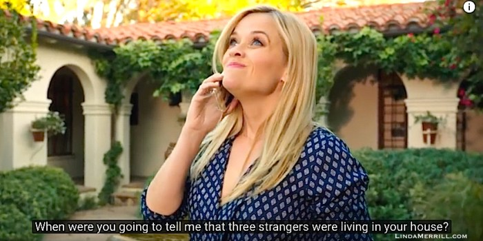Reese Witherspoon in Home Again outside house