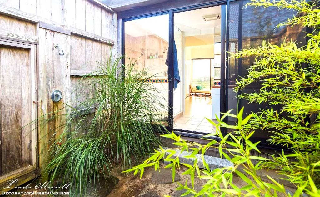 Modern beach house outdoor shower in Truro, Massachusetts