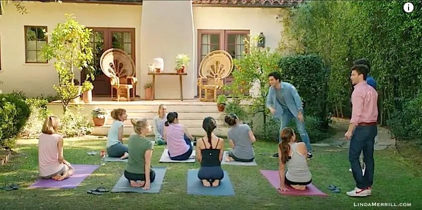 Home Again movie outside house doing yoga in yard