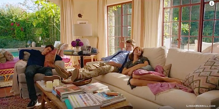Home Again movie living room with white sofas