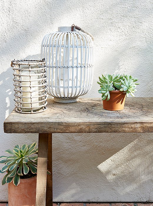 Home Again Movie outdoor table lanterns succulents