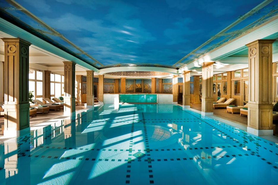 Cristallo Resort hotel pool and spa blue ceiling