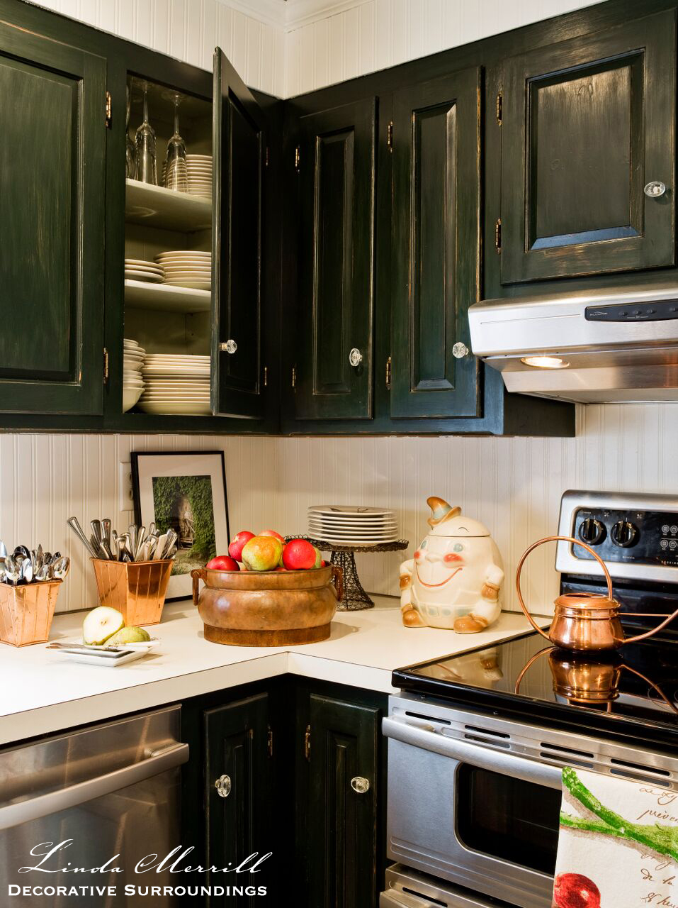 French country kitchen green - French Country Kitchen With Burlap Counter Skirt Copper Pots Green Painted Cabinets Black